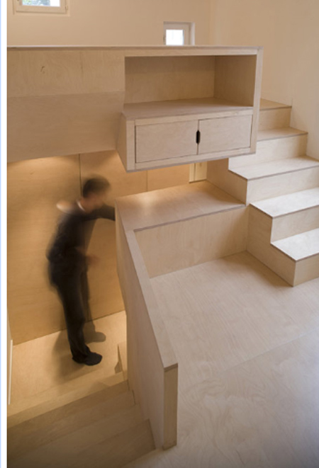 built in furniture - carves space and delineates space simultaneously
